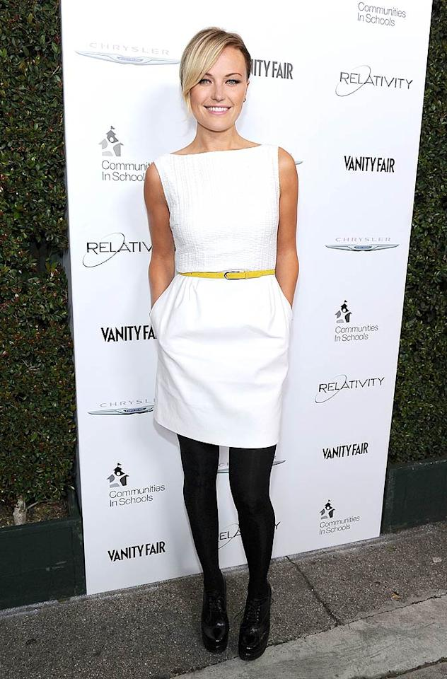 """Malin Akerman was cute as can be (in a crisp, pocketed white frock and yellow belt) at a <i>Vanity Fair</i> fete celebrating """"The Fighter"""" at District on Sunset Blvd. Frazer Harrison/<a href=""""http://www.gettyimages.com/"""" target=""""new"""">GettyImages.com</a> - February 21, 2011"""