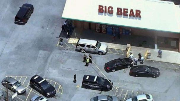 PHOTO: Police respond to a scene where three people were shot at a Big Bear store after a dispute over mask wearing in Dekalb County, Ga., June 14, 2021. (WSB)