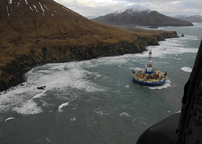 Drilling barge pulled from rocks off Alaska island