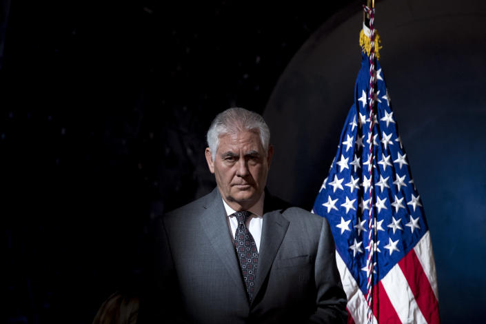 Secretary of State Rex Tillerson arrives at a meeting of the National Space Council in Chantilly, Va., on Oct. 5, 2017. (Photo: Andrew Harnik/AP)