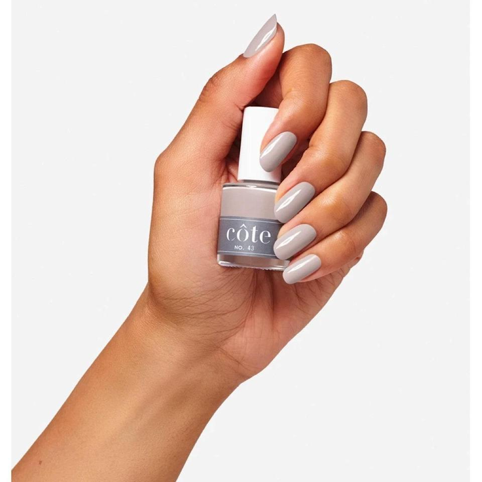 "As soon as I got pregnant I went on a hunt for clean nail polishes, and Côte tops the list. They're all vegan and free from major toxins (think formaldehyde, phthalates, and more), but the brand doesn't skimp on pigment or quality. I'm super excited to wear this creamy charcoal all winter long. It'll go with anything, and will look great with a shiny top coat or flat matte coat. <em>—Shanna Shipin, commerce editor</em> $18, Côte. <a href=""https://coteshop.co/collections/all-polish-1/products/no-43"" rel=""nofollow noopener"" target=""_blank"" data-ylk=""slk:Get it now!"" class=""link rapid-noclick-resp"">Get it now!</a>"