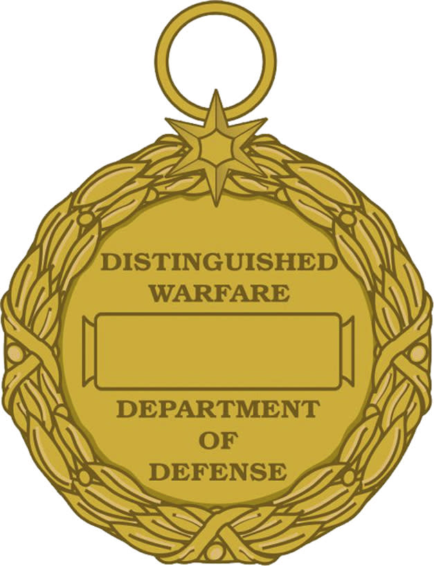This image released by the Defense Department shows the reverse view of the newly announced Distinguished Warefare Medal. The military has stopped production of a new medal for remote warfare troops _ drone operators and cyber warfighters _ as it considers complaints from veterans and lawmakers over the award, a government official said Tuesday.  (AP Photo/Department of Defense)