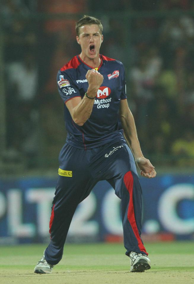 Delhi Daredevils player Morne Morkel  celebrates the wicket of Chennai Super King player Murali Vijay during match 24 of the Pepsi Indian Premier League between The Delhi Daredevils and the Chennai Superkings held at the Feroz Shah Kotla Stadium, Delhi on the 18th April 2013..Photo by Deepak Malik-IPL-SPORTZPICS ..Use of this image is subject to the terms and conditions as outlined by the BCCI. These terms can be found by following this link:..https://ec.yimg.com/ec?url=http%3a%2f%2fwww.sportzpics.co.za%2fimage%2fI0000SoRagM2cIEc&t=1503047852&sig=UDKxPXwPwh1DsPR2lnZKtw--~D