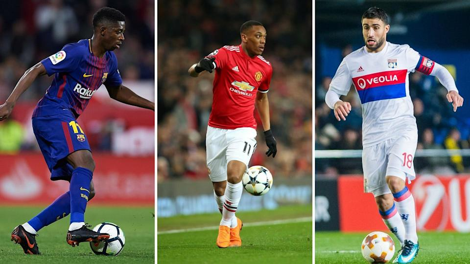 Liverpool in the market for a striker and Ousmane Dembele (left) or Nabil Fekir (right) could fir the bill, while Anthony Martial (centre) is off to Juventus