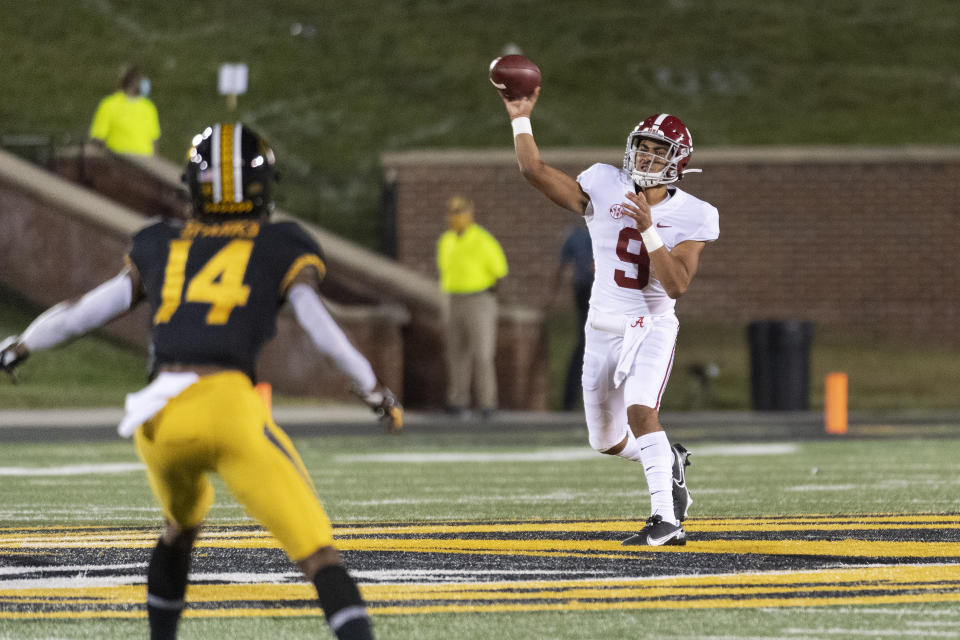 Alabama quarterback Bryce Young throws a pass during the second half of an NCAA college football game against Missouri Saturday, Sept. 26, 2020, in Columbia, Mo. (AP Photo/L.G. Patterson)
