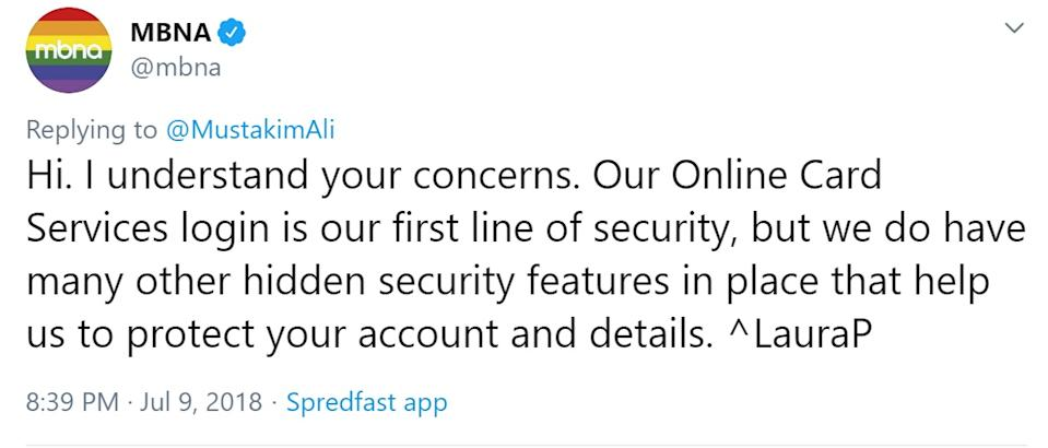 MBNA tweet telling a customer that login is only the first line of security and that there are many other hidden security features.