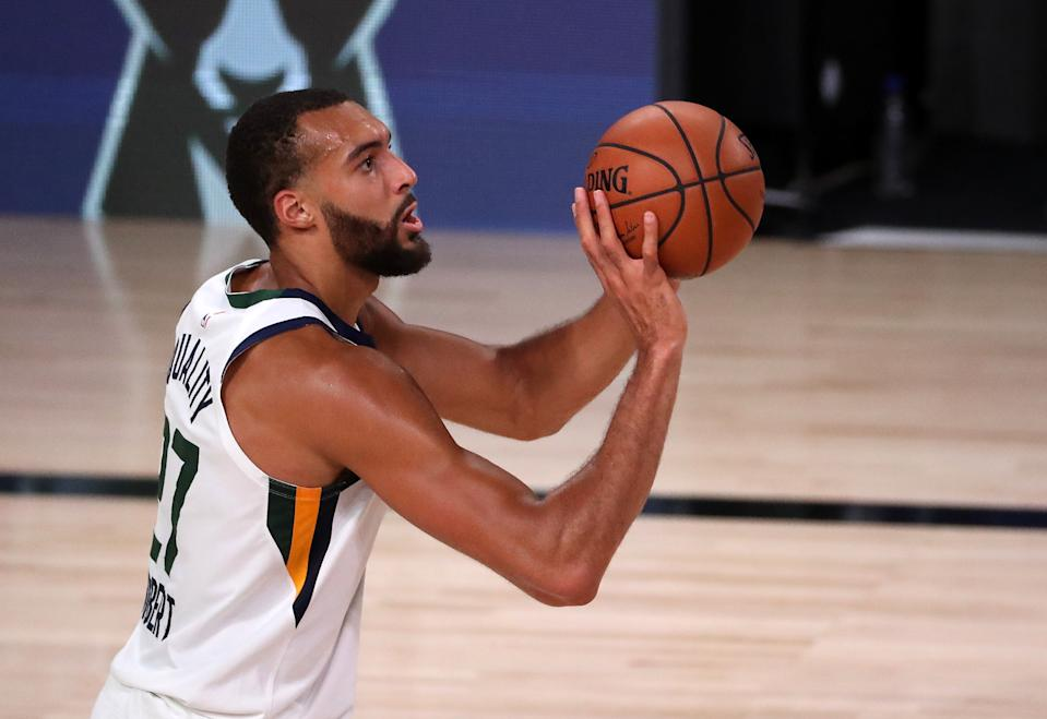 Rudy Gobert will be staying with the Jazz for five more years. (Photo by Mike Ehrmann/Getty Images)
