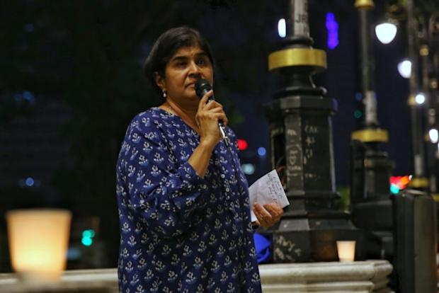 Datuk Ambiga Sreenevasan, president of National Human Rights Society (Hakam) at the solidarity vigil by civil societies over four abduction victims over the last four months in Dataran Merdeka, Kuala Lumpur, April 8, 2017. ― Picture by Saw Siow Feng