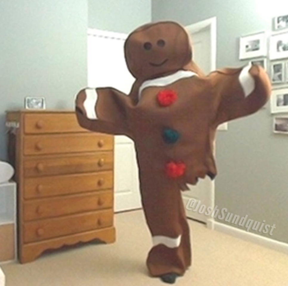 joshs first halloween costume was the one legged gingerbread man from