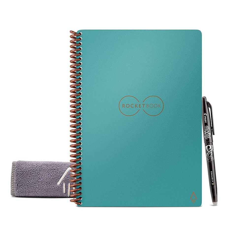 <p>This <span>Rocketbook Smart Reusable Notebook</span> ($28) is equipped with a Pilot FriXion pen that wipes off clean, letting you reuse its 36 pages again and again.</p>