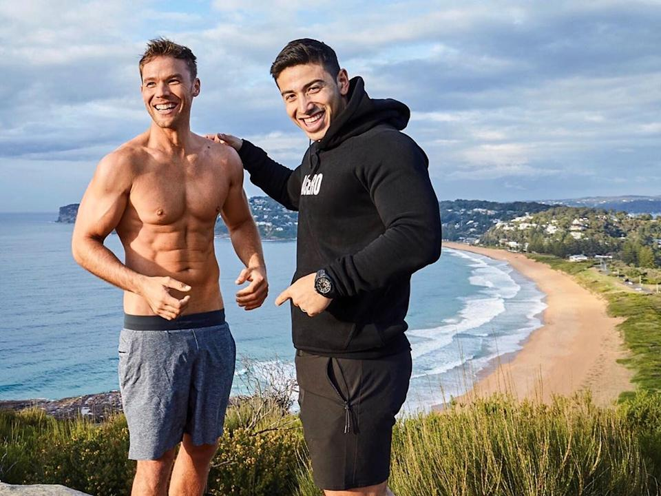 The actor (pictured with his trainer Jono) shed 12kg in 12 weeks ahead of his cover shoot. Photo: Instagram/linc_lewis.
