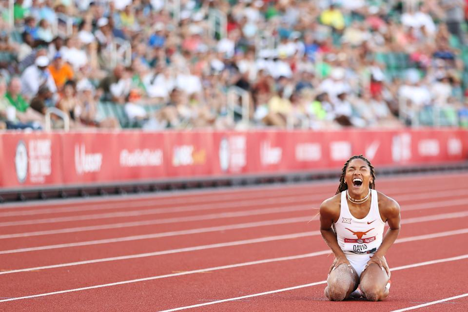 <p>Tara Davis celebrates as she competes in the Women's Long Jump Final on day nine of the 2020 U.S. Olympic Track & Field Team Trials at Hayward Field on June 26, 2021 in Eugene, Oregon. (Photo by Patrick Smith/Getty Images)</p>