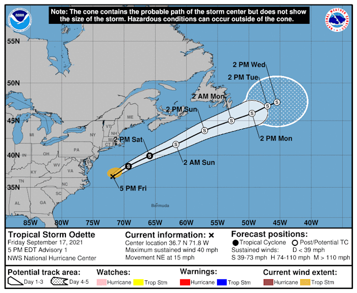 The forecast path of Tropical Storm Odette shows it moving away from the U.S. East Coast over the next few days.