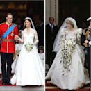 <p>For her wedding to Prince Charles, then Lady Diana Spencer chose a gown designed by London-based husband-and-wife designers David and Elizabeth Emanuel, whilst Kate Middleton chose a simpler design by Sarah Burton for Alexander McQueen for her own wedding to Prince William thirty years later. Though simpler, Kate's dress reflected the shape of her mother-in-law's, featuring a v-neck and a full skirt.</p>