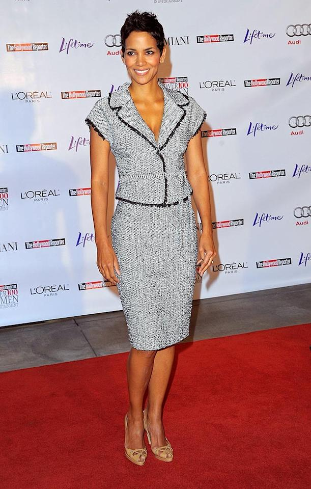 """Elegant in a tweed Giambattista Valli suit and cutout pumps, Halle Berry was the picture of demure sophistication at the Hollywood Reporter's Annual Women in Entertainment Breakfast in Beverly Hills. Jason Merritt/<a href=""""http://www.gettyimages.com/"""" target=""""new"""">GettyImages.com</a> - December 4, 2009"""
