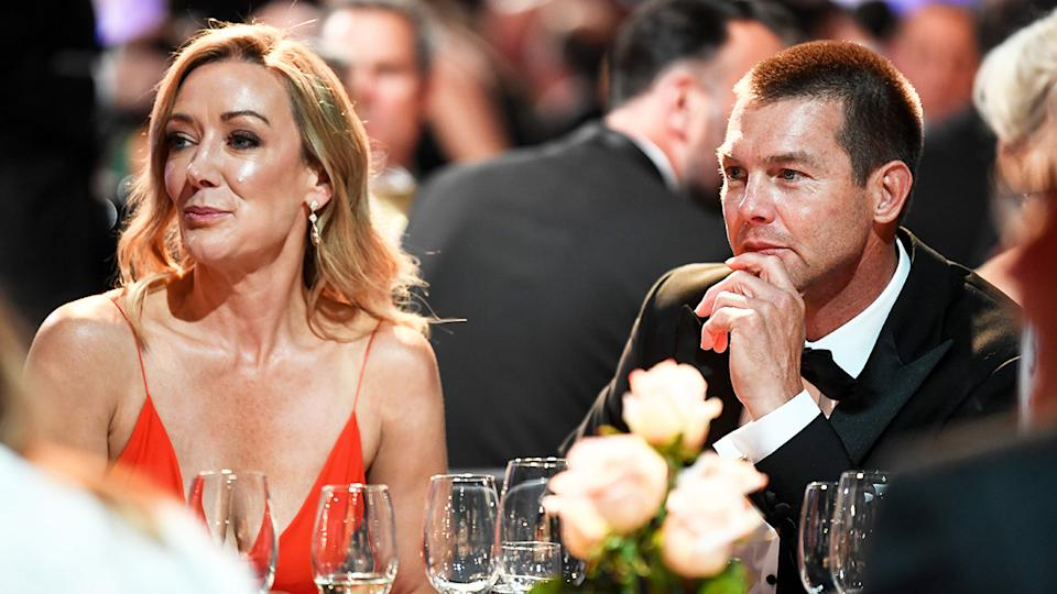 Ben Cousins and Kellye Fergus, pictured here at the 2021 Brownlow Medal count at Optus Stadium.