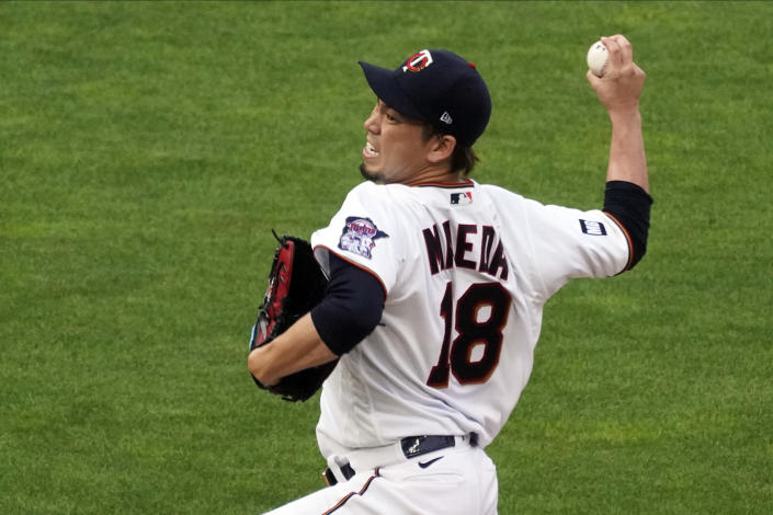 Minnesota Twins pitcher Kenta Maeda throws to a Los Angeles Angels batter during the first inning of a baseball game Thursday, July 22, 2021, in Minneapolis. (AP Photo/Jim Mone)