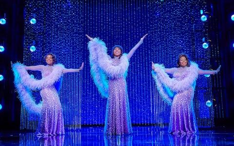 Ibinabo Jack, Liisi LaFontaine and Amber Riley in Dreamgirls at the Savoy Theatre - Credit: Brinkhoff/Moegenburg