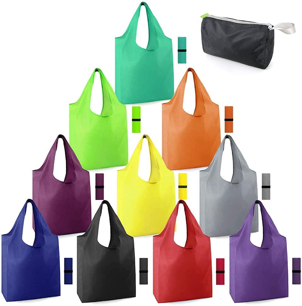 <p>Don't forget these <span>Foldable and Machine Washable Reusable Grocery Bags</span> ($18) when you're going shopping.</p>