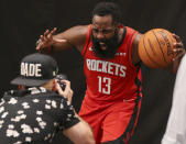 """""""Give me your best 'Somebody just barely grazed me on a 3-point attempt' face."""" — Cameraman to James Harden, god willing"""