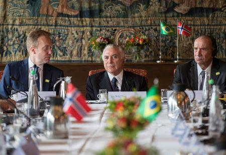 Norwegian foreign minister Borge Brende (L), president of Brazil Michel Temer (C) and foreign minister of Brazil Aloysio Nunes Ferreira, are seen during a visit to Norwegian Shipowners Association in Oslo, Norway June 22, 2017. Vidar Ruud/NTB Scanpix/via REUTERS