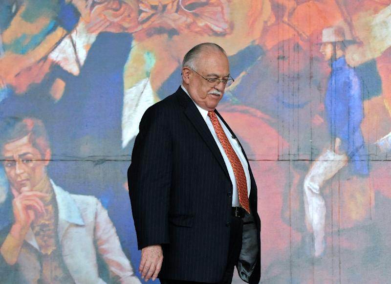 Honduran leader of the Liberal Party, Jaime Rosenthal Oliver, leaves the presidential palace in Tegucigalpa, on July 9, 2011
