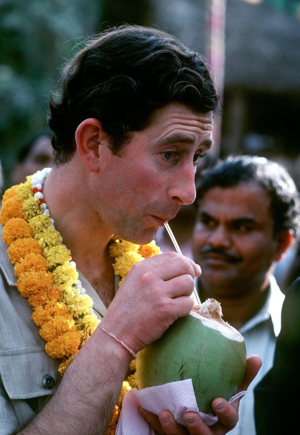 <p>Prince Charles manages to make drinking from a coconut look regal. He visited India in December 1980 for a six-day trip, and he returned again with wife Camilla Parker-Bowles for a two-day trip in 2017. Hopefully he drank from a coconut then, too. </p>