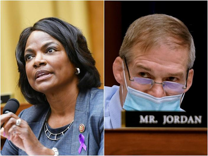 <p>Florida Democrat Val Demings entered a shouting match with Ohio Republican Jim Jordan over police funding on Tuesday, 20 April, 2021. </p> (Getty)