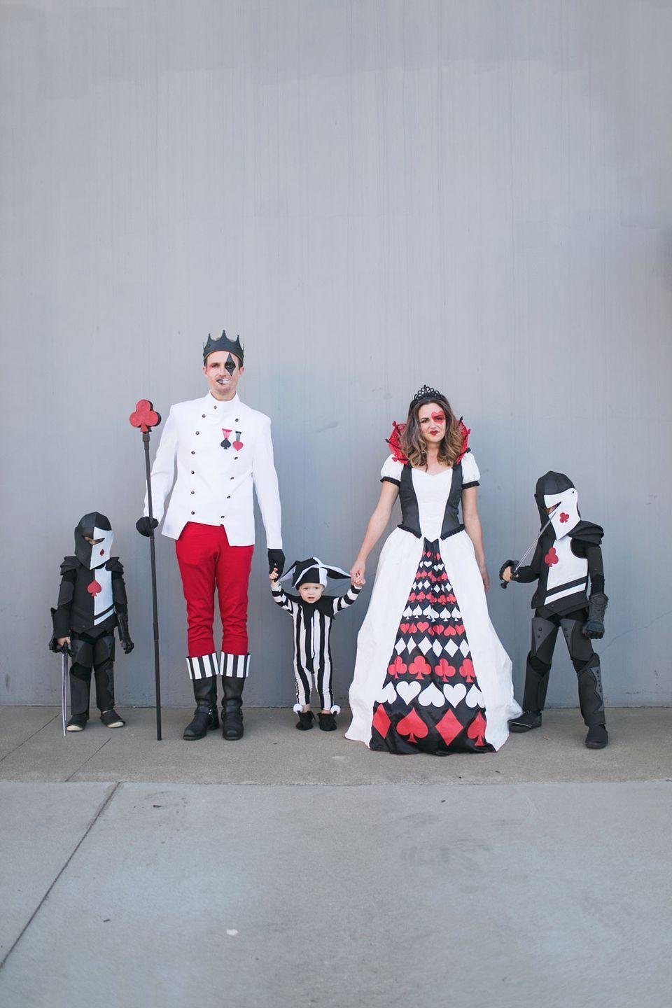 """<p>The Queen of Hearts is nothing without the people who <em>have</em> her heart, after all! We love the idea of making this red, white, and black ensemble a family affair.</p><p><strong>Get the tutorial at <a href=""""https://tellloveandparty.com/2018/10/diy-queen-of-hearts-family-costume.html"""" rel=""""nofollow noopener"""" target=""""_blank"""" data-ylk=""""slk:Tell Love & Party"""" class=""""link rapid-noclick-resp"""">Tell Love & Party</a>.</strong></p><p><a class=""""link rapid-noclick-resp"""" href=""""https://www.amazon.com/PRANG-Washable-Tempera-16-Ounce-10701/dp/B000QE2WDS?tag=syn-yahoo-20&ascsubtag=%5Bartid%7C10050.g.29074815%5Bsrc%7Cyahoo-us"""" rel=""""nofollow noopener"""" target=""""_blank"""" data-ylk=""""slk:SHOP RED PAINT"""">SHOP RED PAINT</a></p>"""
