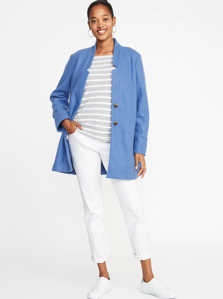 Old Navy Soft-Brushed Button-Front Coat for Women. (Photo: Old Navy)