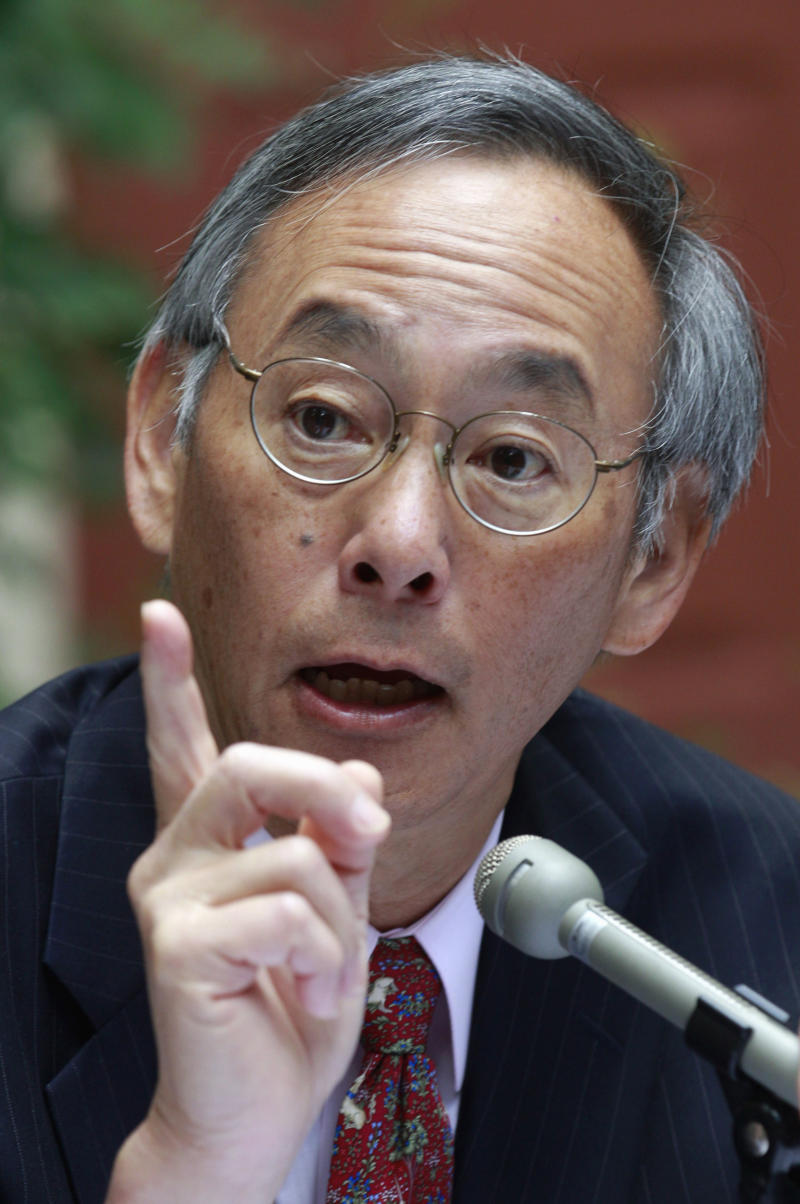 FILE - In this Aug. 31, 2011 file photo Energy Secretary Steven Chu speaks in Portland, Ore. The Obama administration wanted the failing solar energy company Solyndra to delay announcing employee layoffs last year until after the 2010 midterm elections, Republican investigators say.  (AP Photo/Rick Bowmer, File)