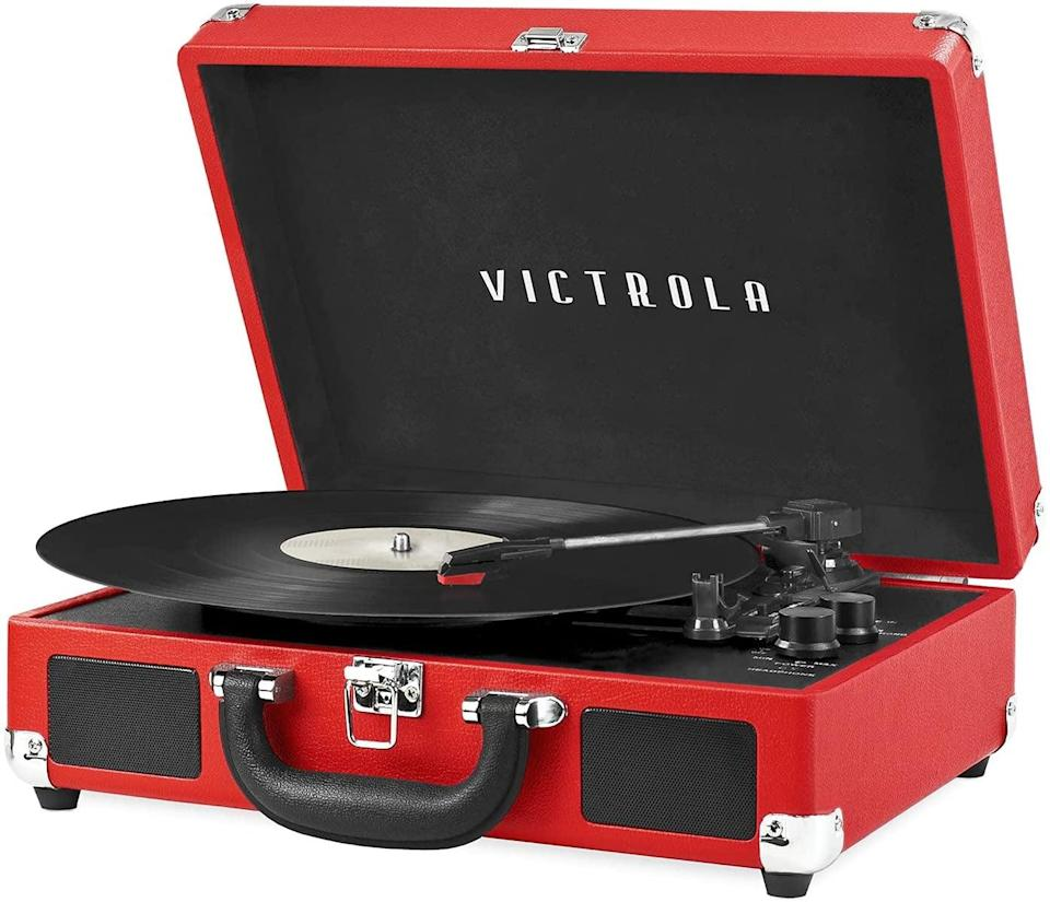<p>If they're all about those retro vibes, the <span>Victrola Vintage 3-Speed Bluetooth Portable Suitcase Record Player </span> ($54, originally $60) offers a modern flair with built-in speakers and bluetooth capabilities. It comes in so many different colors and patterns, so you can get the one made for their aesthetic. </p>