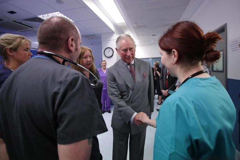 'Marvellous': Prince Charles meets paramedics. (Getty Images)
