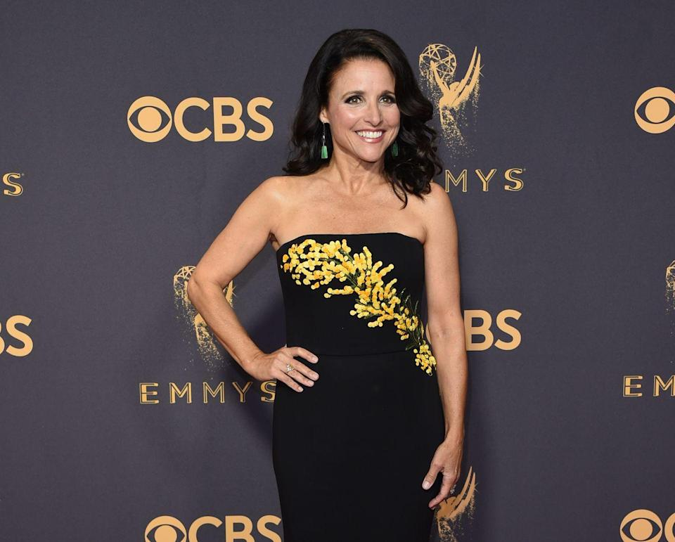 """<p>In 2018, Louis-Dreyfus announced her cancer diagnosis <a href=""""https://twitter.com/OfficialJLD/status/913452227104202752?ref_src=twsrc%5Etfw%7Ctwcamp%5Etweetembed&ref_url=https%3A%2F%2Fwww.foxnews.com%2Fentertainment%2Fjulia-louis-dreyfus-reveals-she-has-breast-cancer"""" rel=""""nofollow noopener"""" target=""""_blank"""" data-ylk=""""slk:on Twitter"""" class=""""link rapid-noclick-resp"""">on Twitter</a>: """"1 in 8 women get breast cancer. Today, I'm the one. The good news is that I have the most glorious group of supportive and caring family and friends, and fantastic insurance through my union. The bad news is that not all women are so lucky, so let's fight all cancers and make universal health care a reality."""" Today, Louis-Dreyfus is in remission and advocates for breast cancer awareness.</p>"""