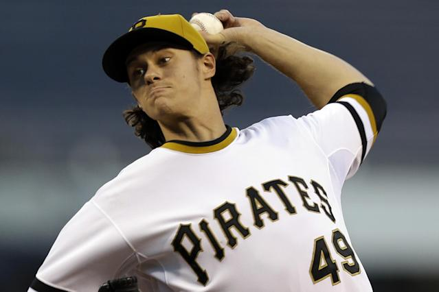 Pittsburgh Pirates starting pitcher Jeff Locke (49) delivers during the first inning of a baseball game against the San Diego Padres in Pittsburgh, Tuesday, Sept. 17, 2013. (AP Photo/Gene J. Puskar)