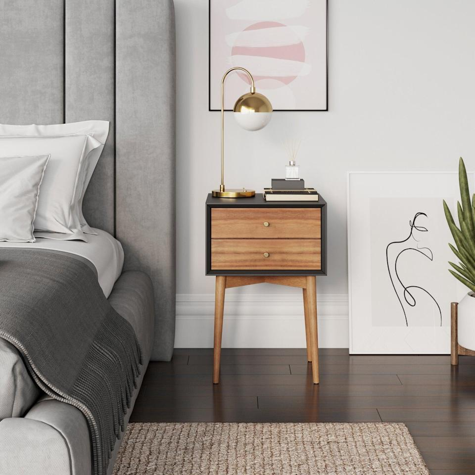 <p>The color contrast of this <span>George Oliver Gilligan Nightstand</span> ($208) has us sold. It makes it look a lot cooler, and we totally want it in our living room too.</p>