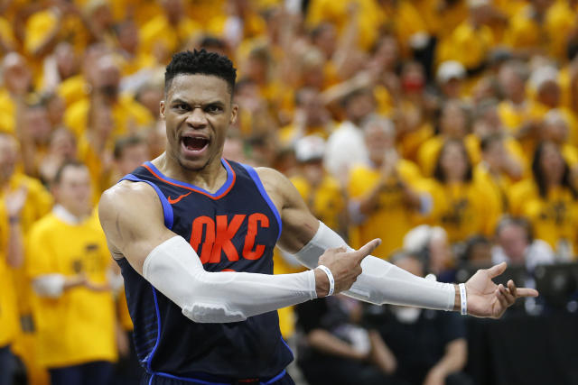 Russell Westbrook saw his season come to an excruciating end on Friday and lashed out at confrontational Jazz fans in the process. (AP)