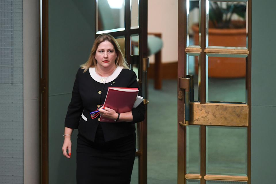 South Australian MP Rebekha Sharkie arrives during House of Representatives Question Time at Parliament House in Canberra. (AAP Image/Lukas Coch) NO ARCHIVING