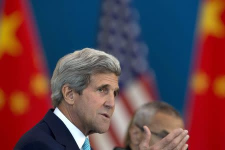 U.S. Secretary of State Kerry speaks at a Strategic Dialogue expanded meeting with Chinese officials at the Diaoyutai State Guesthouse in Beijing