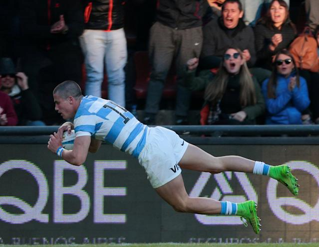 Rugby Union - June Internationals - Argentina v Wales - Brigadier General Estanislao Lopez Stadium, Santa Fe, Argentina - June 16, 2018 -Argentina's Bautista Delguy scores a try. REUTERS/Diego Lima