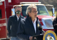 California State Assemblyman Richard Bloom, a Democrat from Santa Monica, speaks to reporters during a news conference at the Loafer Creek State Recreation Area in Oroville, Calif., on Tuesday, April 13, 2021. California Gov. Gavin Newsom on Tuesday signed a law authorizing more than half a billion dollars in new spending to prepare for wildfire season. (AP Photo/Adam Beam)