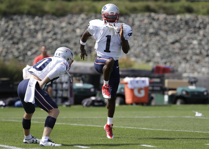 New England Patriots wide receiver Antonio Brown (1) works out near wide receiver Gunner Olszewski, left, during an NFL football practice, Wednesday, Sept. 11, 2019, in Foxborough, Mass. Brown practiced with the team for the first time on Wednesday afternoon, a day after his former trainer filed a civil lawsuit in the Southern District of Florida accusing him of sexually assaulting her on three occasions. (AP Photo/Steven Senne)