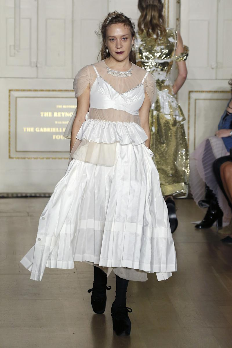 For the second time in less than a year, Chloë Sevigny stepped out on the catwalk, this time to walk Simone Rocha's fall/winter 2019 show during London Fashion Week in February 2019.