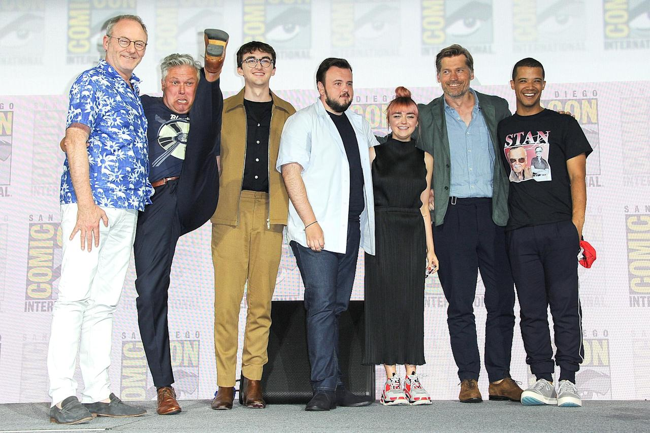 """In the wake of the final season of <a href=""""https://ew.com/creative-work/game-of-thrones/""""><em>Game of Thrones</em></a>, the stars of the hit HBO fantasy stopped by San Diego Comic-Con for <a href=""""https://ew.com/comic-con/2019/07/19/game-of-thrones-panel-live-blog/"""">one last panel in front of the fans</a>. Click through for highlights, like Conleth Hill (Lord Varys) showing his excitement with a high kick."""