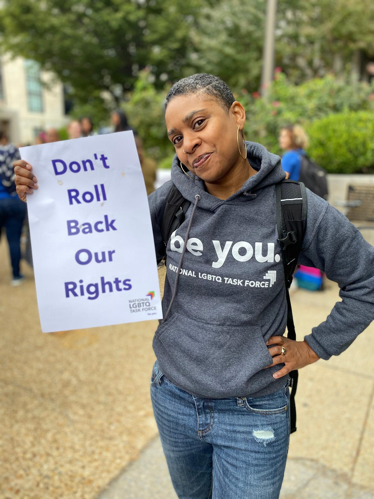 Kierra Johnson pictured at a rally Tuesday outside the Supreme Court.