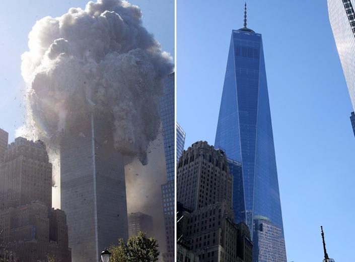 <p>The north tower of the World Trade Center begins to collapse on Sept. 11, 2001, following a terrorist attack, left; One World Trade Center fills the skyline in lower Manhattan on Aug. 23, 2016. (AP Photo/Richard Drew; Gordon Donovan/Yahoo News) </p>