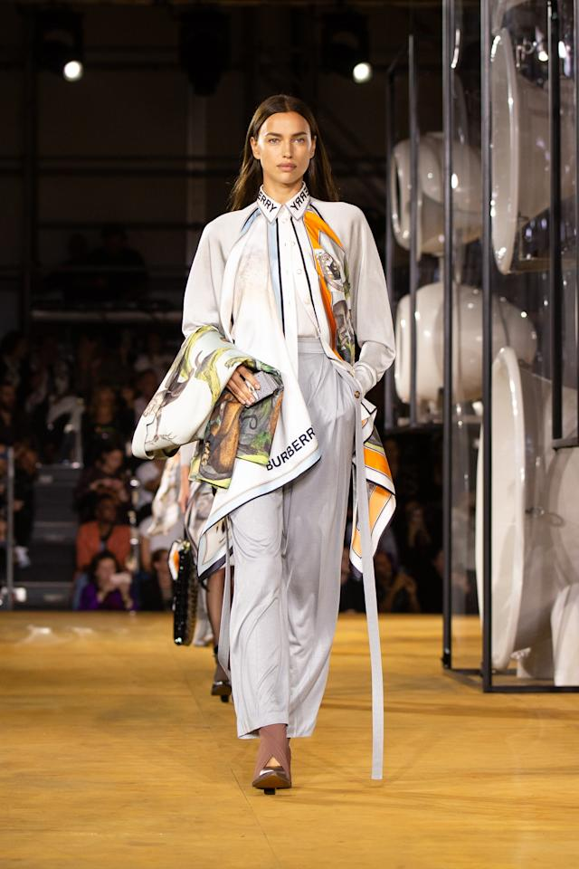 On the runway at the Burberry SS20 show during London Fashion Week on Monday, September 16th, 2019. Photograph by Serichai Traipoom for W Magazine.