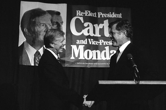 President Jimmy Carter, left, meets his former rival for the Democratic nomination, Sen. Edward Kennedy, D-Mass., in Los Angeles in 1980. (Photo: AP)