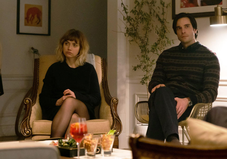 """This image released by Sony Pictures Classics shows Imogen Poots, left, and Daniel Di Tomasso in a scene from """"French Exit."""" (Jerome Prebois/Sony Pictures Classics via AP)"""