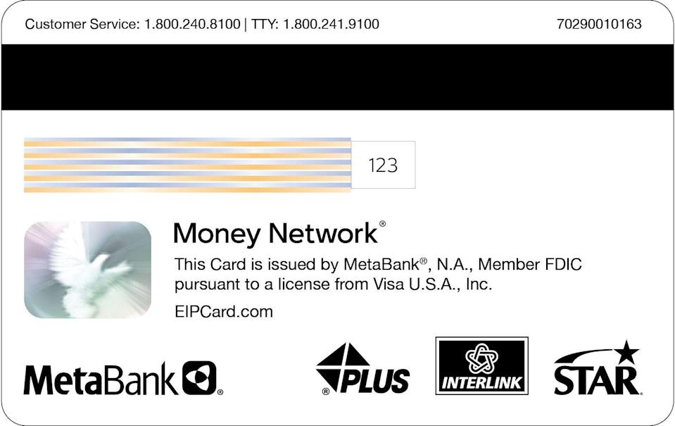 The back of the prepaid debit card carries the MetaBank logo, if the card was issued by the Internal Revenue Service to cover your stimulus payment.